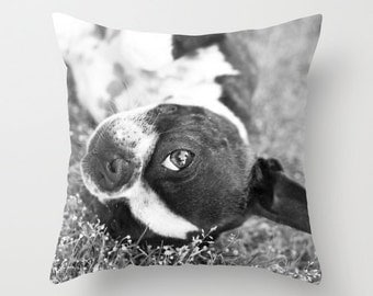 Boston Terrier Pillow - Dog Pillow Cover - Terrier Pillow Case - Puppy Pillow - Cushion - 16x16 18x18 20x20 Pillow Cover