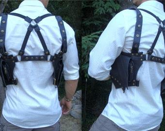 """Leather Utility Holster - Shoulder Crossback Bag Pouch """"Leaf"""" Design - Black or Brown"""