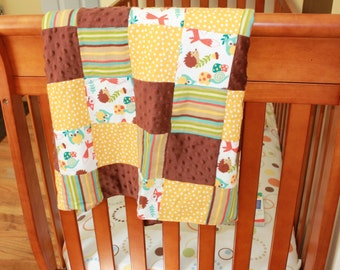 Extra Large Woodland Friends Quilt Blanket-Great Carseat Cover