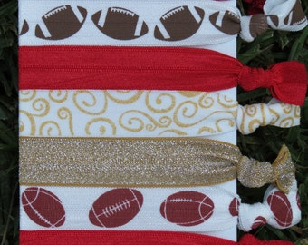 7 Pack San Francisco 49ers Football Red Gold Glitter Swirl Knot Hair Ties Stretch Fold Over Elastic PonyTail Holder Bracelet 202
