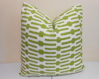 Green Designer  Pillow Cover - Accent Pillow- Annie Selke Links- Geometric Pillow Cover- Throw Pilllow - 20 x 20
