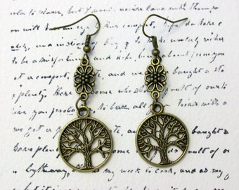 Tree of Life dangle earrings in antiqued bronze on french hook earring wires.