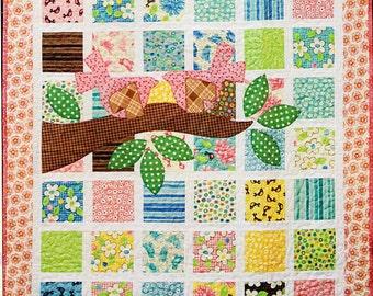 Custom Crib Quilt, Girl Crib Quilt, Bird, Nature Crib Quilt, Toddler Quilt, Nature Nursery, Nature Toddler Quilt, Bird, Tree, Patchwork
