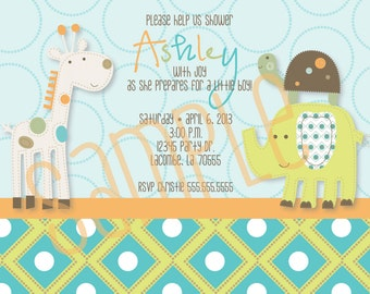 Giggle gang themed baby shower invite