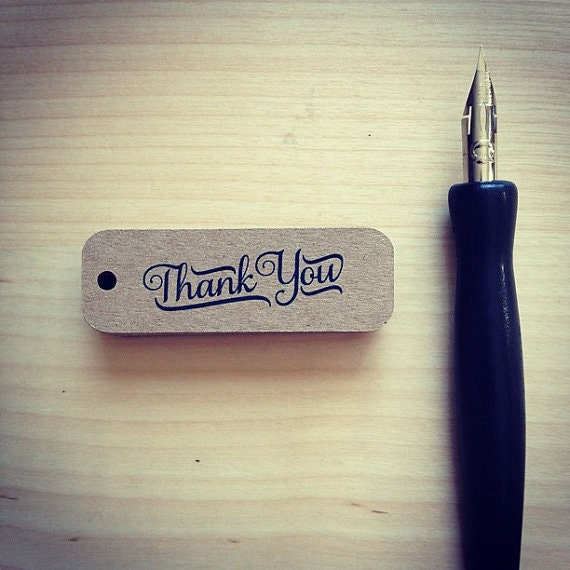 Mini Thank You Tags - Brown Kraft - Pack of 36