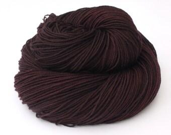 sock weight Yarn Hand dyed Superwash Merino -rich dark chocolate