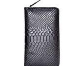 Genuine Long  Leather wallet with lagre zipper-Men wallet--Black Leather purce-Instrument package -Passport Holder-2014