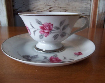 Lennold Enchanted Rose 1583 Fine China Teacup and Saucer Set Japan