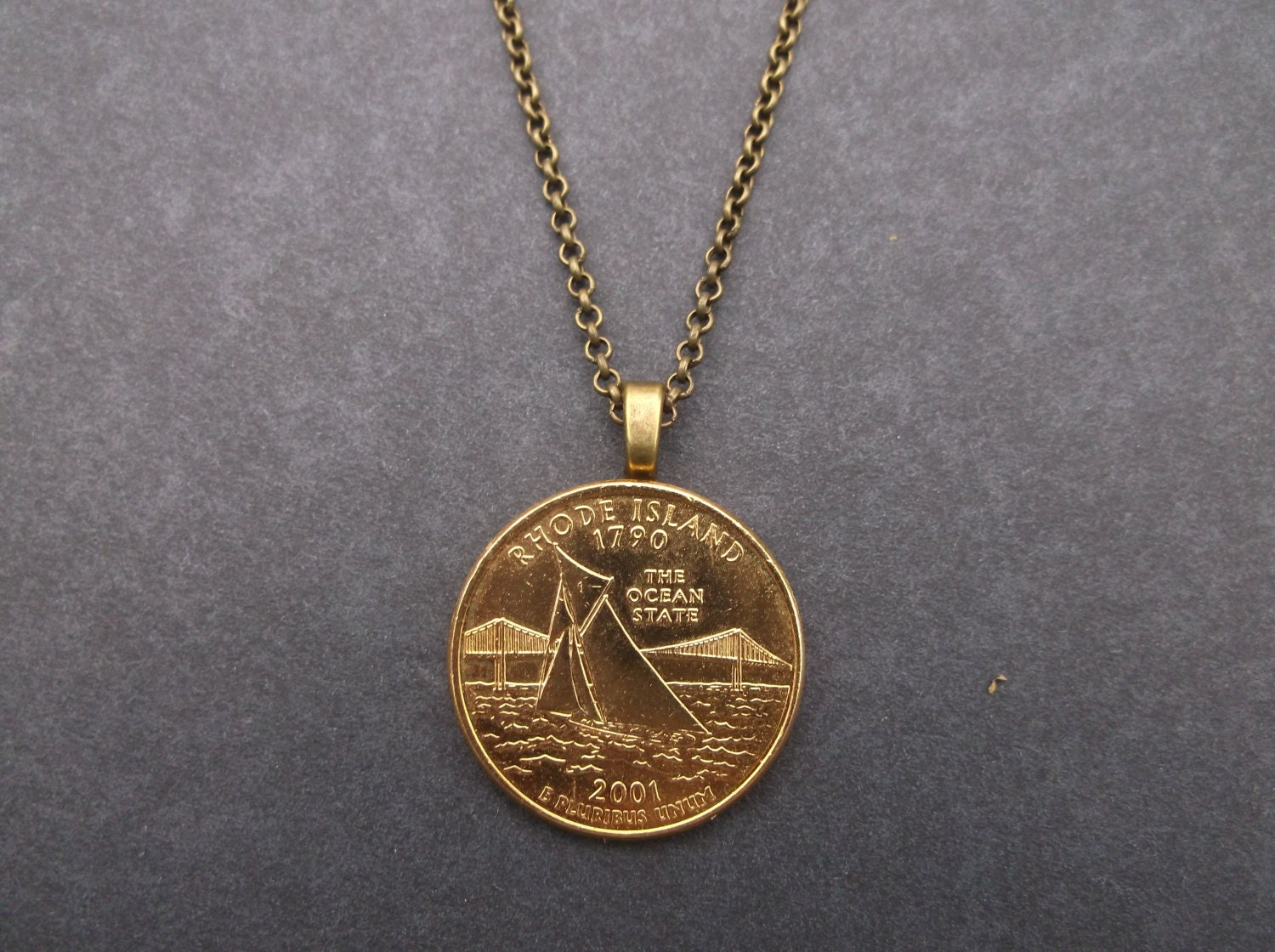 Rhode Island United States Gold Colored Quarter Coin Necklace