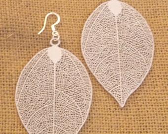 Silver Leaf Earrings Silver Filigree Silver Dangle Earrings Leaf Earrings