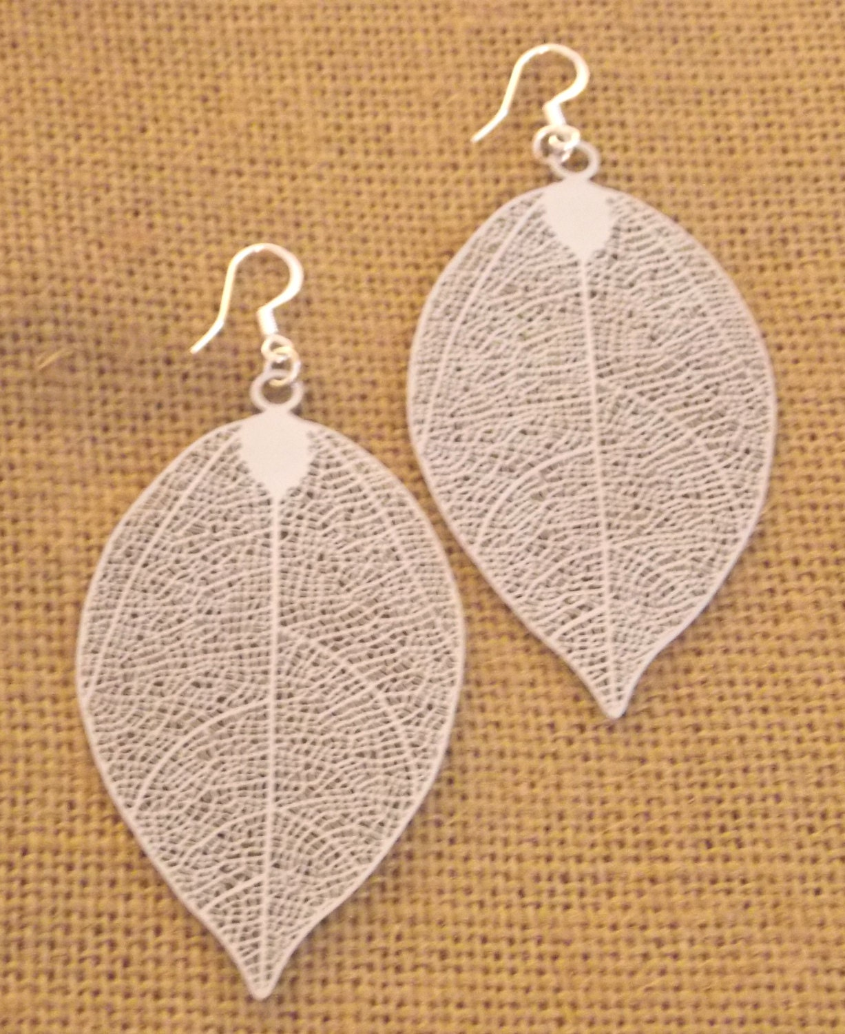 Silver Leaf Earrings Silver Filigree Silver Dangle Earrings