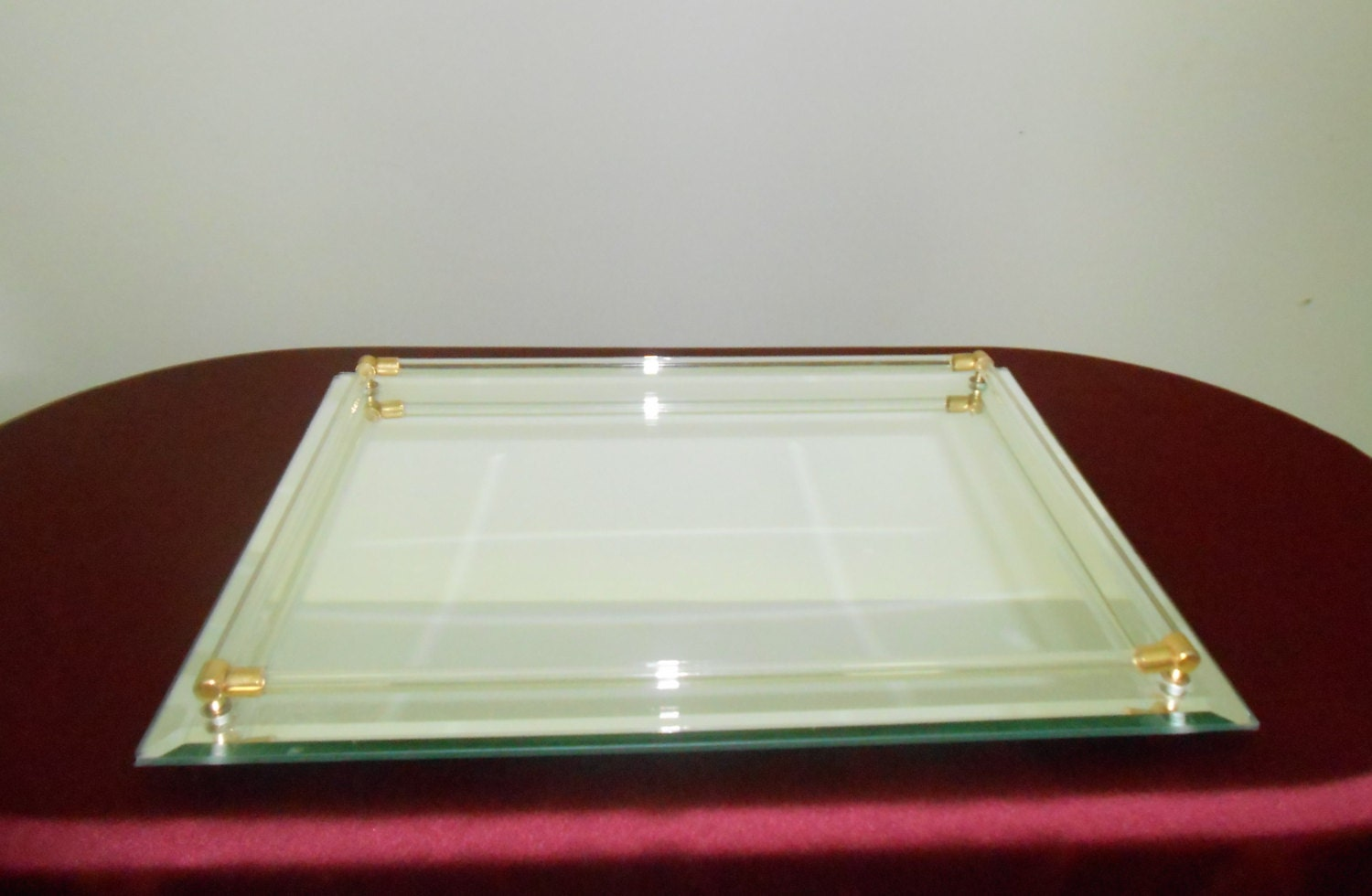 Vintage beveled glass mirrored dresser vanity tray for Mirrored bathroom tray