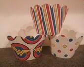 Superhero Cupcake Wrappers   Set of 12  Wonder Woman