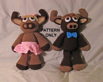 PATTERN:  Melvin & Malinda Moose Crochet Dolls