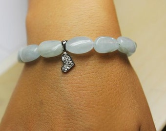Natural AQUAMARINE beaded bracelet accented with a charm
