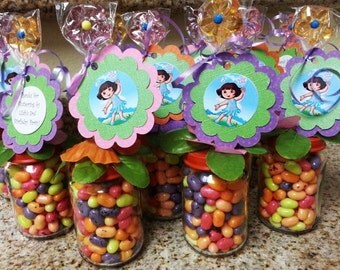 Dora Fairy Party Favors - Baby food Jar party favors, Birthday party, Baby shower, Dora favors, Dora Candy