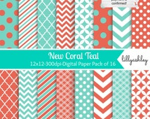 SALE Digital Paper Pack of 16--JPG 12x12 Commercial Use Digital Paper Coral Digital Paper Teal Digital Paper Aqua Teal & Coral Chevron Paper