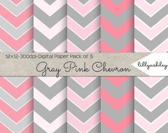 Gray Pink Chevron Digital Paper Pack of 5--JPG Downloadable Chevron Pattern Gray Pink Scrapbook Paper Digital Printable 12x12