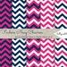 Chevron Digital Paper Pack of 5--12x12 JPG Commercial Use Digital Paper Chevron Paper Navy Chevron Hot Pink Fuchsia Paper Pink and Navy
