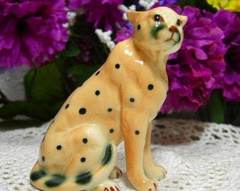 Bone China Spotted Leopard Figurine