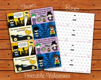 Batman Valentine Set of 8  - Instant Download