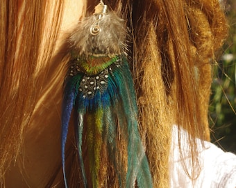 Unique hand made Cruelty free single feather earring Pixie Hippie Gypsy goddess tribal with real feathers