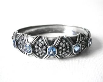 Vintage Sterling Silver Hinged Bracelet Set With Light Blue And Crystal Stones