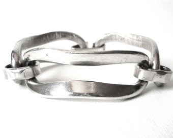 Erik Dennung Silver Plate Chunky Link Bracelet Made In Denmark