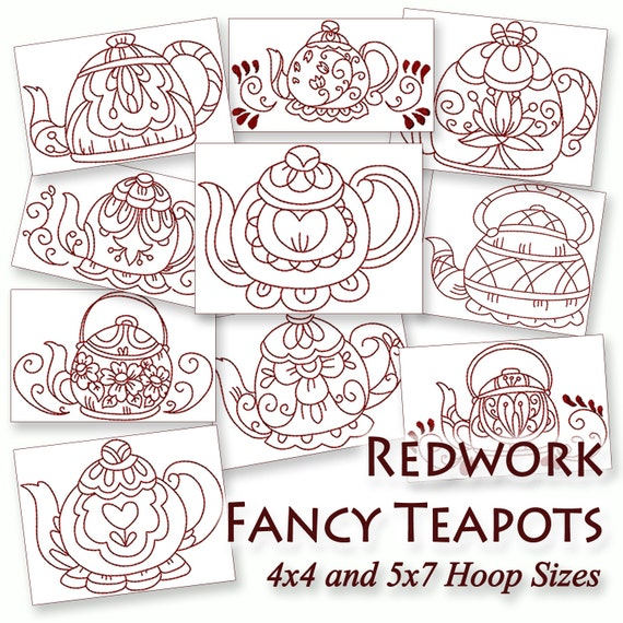 Redwork Fancy Teapots Machine Embroidery By Stitchxembroidery