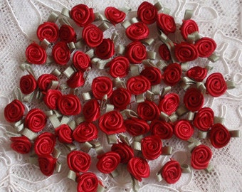 30 Mini  Handmade Ribbon Roses (10 mm) In Red  MY-158-01 Ready To Ship