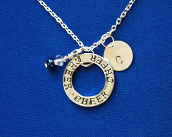 Customized CHEER Necklace with Hand Stamped Initial and Swarovski Crystal- on sterling silver Chain