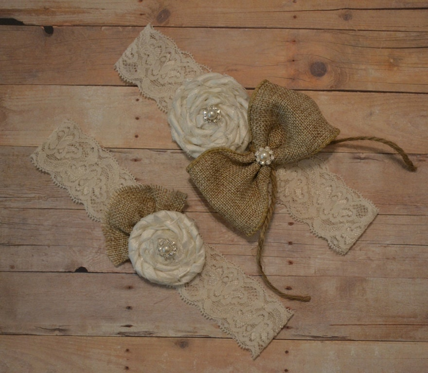 Country Wedding Garters: Burlap Wedding Garter Set Rustic / Country By