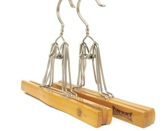 Vintage Wooden Clamp Style Hangers, Set of 2, Double Clamp