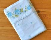 Vintage Blue Floral Twin Flat Sheet