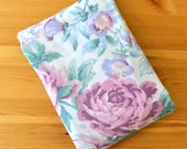 Pink Floral Sheet, Vintage Double FITTED Sheet, Cabbage Roses