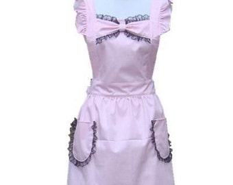 Beautiful Handmade full apron dress  for kitchen cooking Lovely Pink Lace Accessories