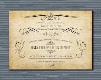 Digital Printable Vintage Wedding Invitation