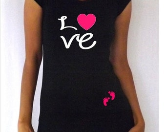 "Funny,cute, maternity Shirt ""Love"" with footprints Perfect for valentine's day or everyday use, short  or 3/4 sleeves"