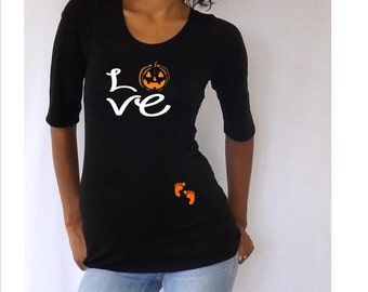 "Maternity Halloween shirt "" Love with Pumpkin"" - Maternity t-shirt- Pregnanc clothes, Halloween Costume- Pregnant costume."