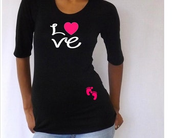 "Maternity Cute ""Love"" Maternity Shirt- Black VA071"