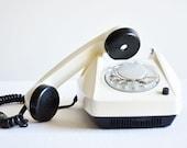 Vintage White & Black Tesla Rotary Phone - Unused - New Old Stock - Working
