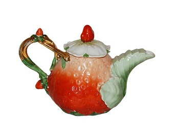 Vintage Strawberry Individual Teapot with Lid