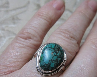 Dark Turquoise Sterling Silver Ring Size 8