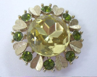 Vintage Green Glass Rhinestone Headlight Heart Pendant Brooch Pin