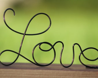 Black Wire Love wedding Cake Toppers - Decoration - Beach wedding - Bridal Shower - Bride and Groom - Rustic Country Chic Wedding