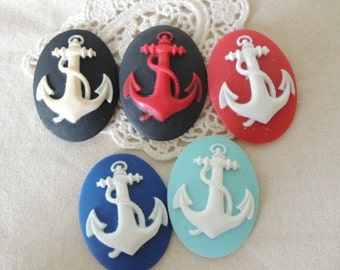 12 pcs of resin anchor cameo 30x40mm-0331-mix color
