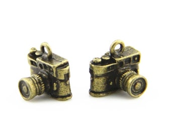 12 pcs metal camera charm-14x10x10mm-1265-antique bronze-C