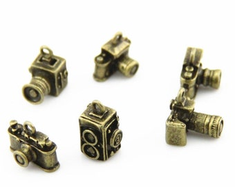 12 pcs 2 designs metal camera charm-15x10x10mm-1265-antique bronze-mix design