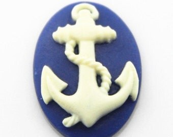 12 pcs of resin  anchor cameo 18X25mm-0331-whie on navy  blue