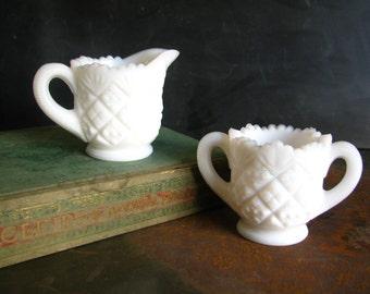 Vintage Milk Glass Creamer and Sugar Set